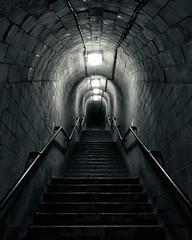 Ness Tunnel (Andy Brown (mrbuk1)) Tags: longexposure stairs dark lights mono blackwhite scary steps creepy devon rails teignmouth shaldon