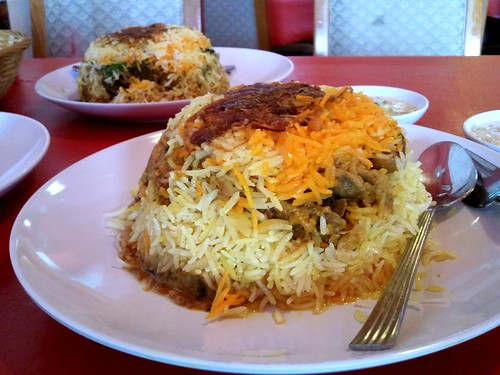 From front: Chicken Biryani and Mutton Biryani