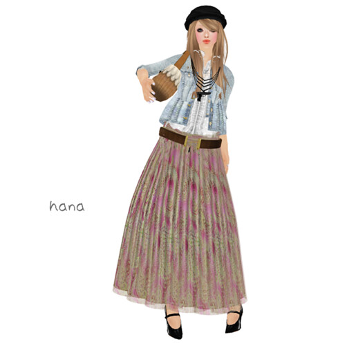 :pesca:paisley long skirt pink
