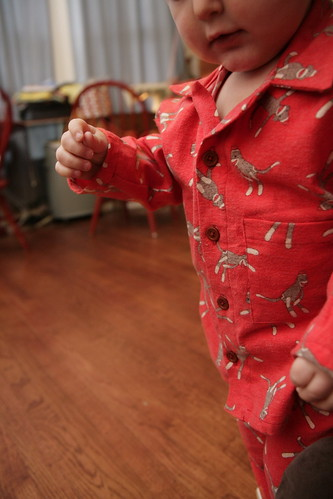 Jogging by in his new pjs.