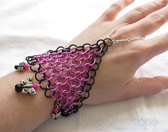 Pink and Black Butterfly Chainmaille Handflower