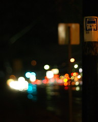 A Rainy Night At The Bus Stop (jomak14) Tags: canon bokeh busstop blogged manualfocus selectivefocus eos1ds tiltshift 2011 willowgrovepa route611 russianmade eastonrd photex80mmf28stlens httpjomak14blogspotcom