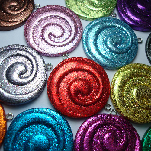 Glitter Spiral Pendants