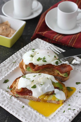 Poached Egg on Toast with Chipotle Mayonnaise, Bacon & Avocado Recipe