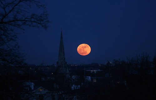 SuperMoon over London with Spire