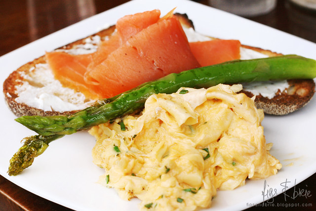 Scrambled Eggs with Smoked Salmon and Asparagus, Well Connected Cafe