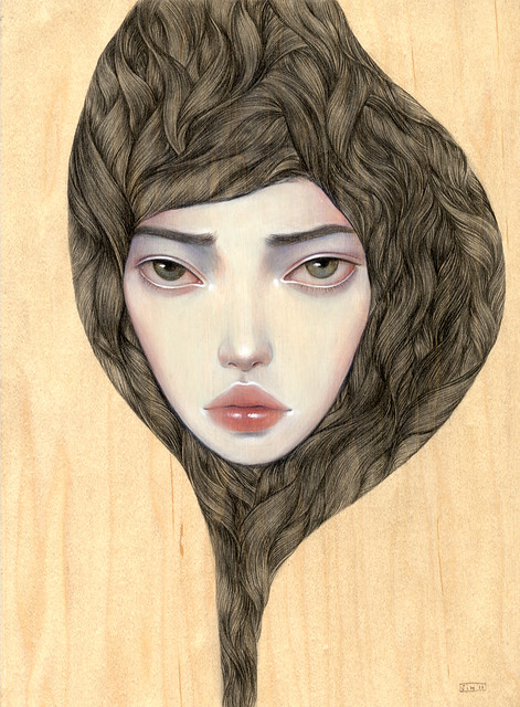 "A Perfect World. 9"" x 12"". Acrylic & Colored Pencil on Wood. © 2011."