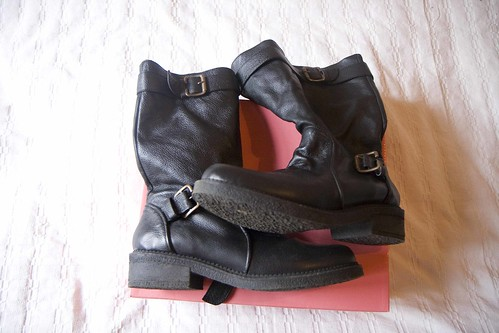 black leather boots new