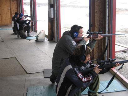 Weapon training: Lajla Helene, Elle Karen, Øystein and Lasse Andre.