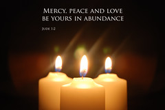 Lent - Day 14 - Jude 1:2 (♥ Emma in Wonderland ♥) Tags: light white 3 love church reflections easter word religious three worship candles peace christ god text flames religion jesus halo christian jude bible trio christianity 12 abundance scripture aura mercy verse lent