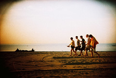 feels like the 1st day of summer (lomokev) Tags: barcelona sea summer people españa beach yellow xpro crossprocessed xprocess spain vignetting vignette espa–a deletetag lomographyxpro200 roll:name=100701holga35lomoxpro200 file:name=100701holga35lomoxpro200005