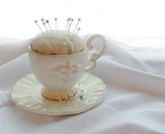 Teacup Pincushion (Urban Threads) Tags: victorian machine pincushion teacup embroidered tutorial urbanthreads