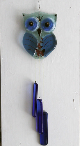 Sky Blue owl fused Glass suncatcher mobile by virtuly art in glass