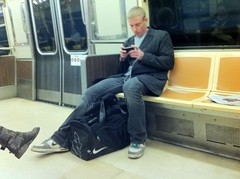 Trainstalking (davitydave) Tags: nyc man male train subway publictransportation path blonde headphones passenger buzzed hoboken iphone bigfeet nikes tennisshoes trainstalking
