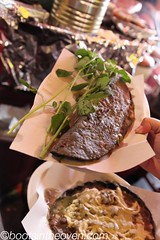 Tlacoyo and Sope with Rampano (Boots in the Oven) Tags: travel cheese mexico corn mexicocity df market mercado northamerica rtw masa ciudaddemexico roundtheworld sope griddled tlacoyo mercadodelamerced