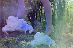 Walking on Clouds (EmmaBoiston) Tags: cloud colour feet fairytale stairs interesting woods heaven surrealism levitation powderpaint