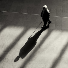 * (donvucl) Tags: shadow man london monochrome walkingstick squareformat kingscrossstation donvucl olympusepl5