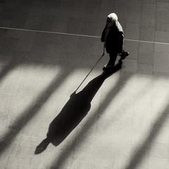 * (donvucl) Tags: shadow man london monochrome walkingstick squareformat kingscrossstation donvucl olympusepl5