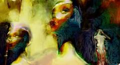 Divided world (Bamboo Barnes - Artist.Com) Tags: secondlife virtualart digitalart photo painting vivid surreal yellow green red blue pink doll face mannequin light shadow bamboobarnes