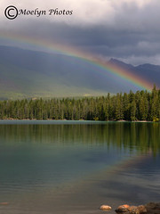 Lake Edith Rainbow-Jasper (moelynphotos) Tags: rainbow lake lakeedith jasper park stormy cloudy reflections evergreentrees colorful contrasts vertical portraitformat alberta jaspernationalpark moelynphotos canada