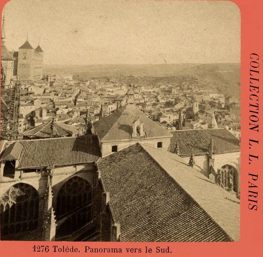 Cimborrio de la Catedral de Toledo y Alcázar vistos desde la Torre de la Catedral hacia 1880. Fotografía estereoscópica de Levy. Colección Luis Alba. Ayuntamiento de Toledo