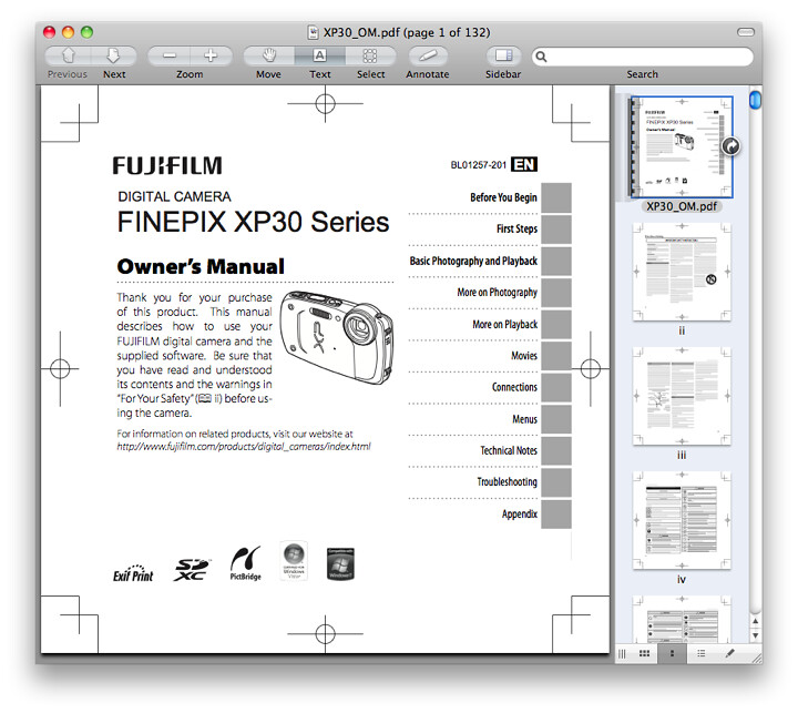 Fuji XP30 Manual