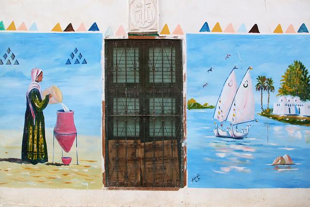 エジプト旅行 アスワン ヌビア村 民家のかわいい壁