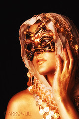 metallic (arrowlili) Tags: portrait selfportrait gold paint mask coins metallic bellydancer masquerade shawl facepaint tamron2875mm canoneos50d odc2 ourdailychallange