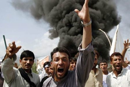 Afghan citizens demonstrating in Kandahar against the burning of the Quran in the United States by a minister from Florida. Nine were killed here and several others in various parts of this country under US/NATO occupation. by Pan-African News Wire File Photos