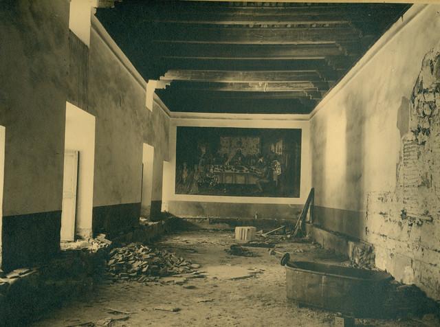 Refrectorio del Hospital de Santa Cruz destruido en la Guerra Civil. Fotografía de Pelayo Mas Castañeda. Causa de los mártires de la persecución religiosa en Toledo