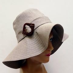 Retro Sun Hat (bonniesknitting) Tags: linen gray boho sunhat beachhat floppyhat summerhat widebrimmedhat bonniesknittingpicnik concerthat