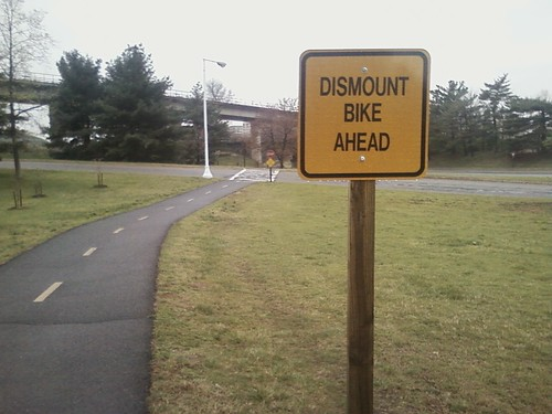 Dismount ahead (for cyclists)