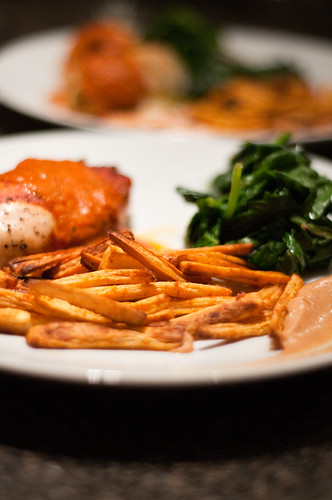 stuffed chicken, parsnip fries and spinach
