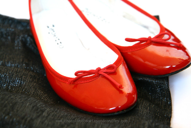 repetto red patent flats
