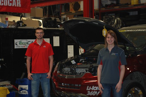 In the EcoCar photo are students Ryan Everett (master's student, mechanical engineering) and Katherine Bovee (master's student, mechanical engineering).