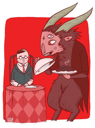 Сатана угощает Петра Семёныча котлетами из его жены Зины  by dizzahtu36