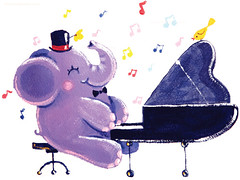 35 - Pianist - Rondy the Elephant playing the piano (Oksancia) Tags: blue red musician music elephant cute bird hat animal yellow illustration painting paper print happy sitting purple singing piano hobby canvas adventure note melody musical card childrens etsy archival decor darkblue rondy giclee oksancia