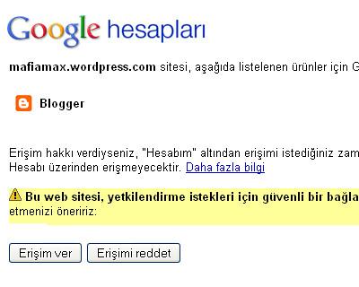 Google hesap erişim izni