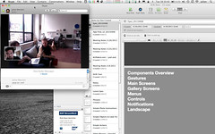 Skype meeting discussing the imminent Drift Deck, iPhone edition with the team in Seattle. I'm tired. T'was a 3am-er the night before working on the mockuzine. (JulianBleecker) Tags: people project iso nearfuturelaboratory dawnlozzi driftdeck unknownflash