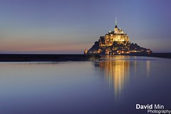 Mont Saint-Michel, France (GlobeTrotter 2000) Tags: world blue sea vacation france reflection heritage tourism saint st night bay high europe tide low visit unesco hour michel normandy mont