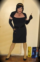 black dress vamp (Cheryl416) Tags: black stockings gold dress tgirl gloves cheryl vamp cigaretteholder