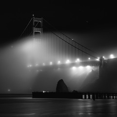 Outside In... (maxxsmart) Tags: california longexposure people blackandwhite bw water fog contrast stars lights pier rocks glow aliens goldengatebridge cables bayarea marincounty lostandfound lighttrails humans 1x1 ef2470f28l nofilters canon5dmarkii