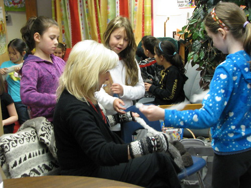 Sylvia demonstrating wool spinning at Dorothy Lynas Elementary in North Vancouver