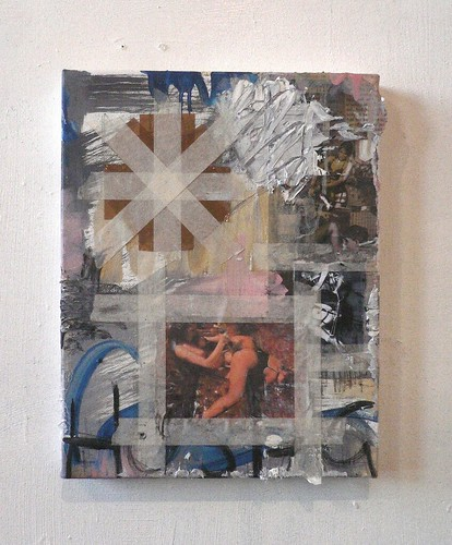 Zavier Ellis 'Hostage Barricade', 2011 Oil, inkjet print, paper, tape on canvas 35.5x28cm