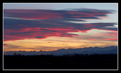 Tramonto Alpi (beppeverge) Tags: light sunset sky italy panorama mountains alps color green nature clouds montagne canon landscape geotagged photography eos photo europe italia tramonto nuvole photos  natura cielo valley alpi paesaggio monti valli supershot pendii vallate perfectsunsetssunrisesandskys beppeverge