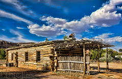 Bluff Meeting House Replica [Explored] (Jim Purcell) Tags: usa photoshop ut cabin kitlens historic logcabin historical 300views 300 stylized bluff topaz holeintherock oldwest sanjuancounty pentaxistdl explored tucsonphotographer smcpentaxda1855mm3556al momonsettlement