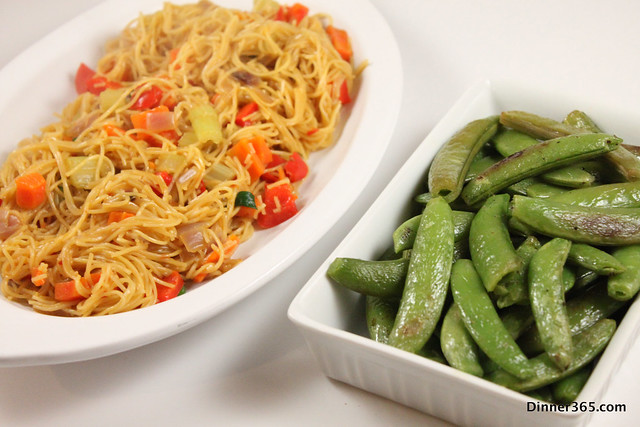 Day 110 - Vegetable Chow Mein and Baked snap peas