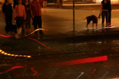 (anjamation) Tags: railroad dogs night blurry prague july 2009 walkingthedog sonydscr1 cinematiccity