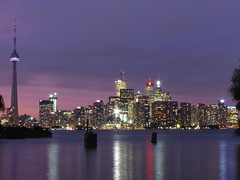 Toronto Skyline (jasonwsullivan) Tags: longexposure urban toronto ontario canada water night cntower skyscrapers cities cityscapes skylines lakeontario buildingsstructures