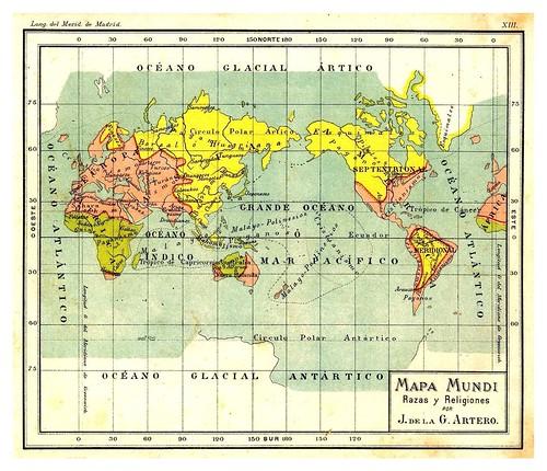004- Razas y religiones-Atlas De Geografía- Astronómica, Física, Política Y Descriptiva 1908- Juan G. Artero